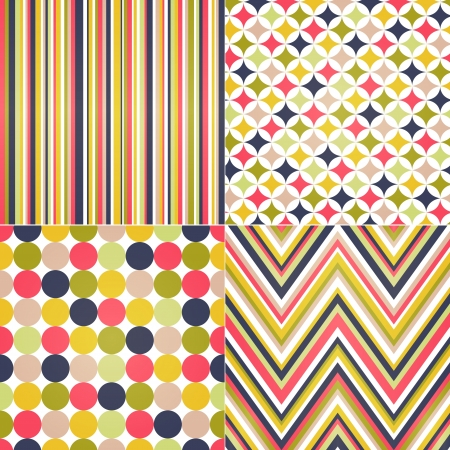 oxford: seamless stripes, zig zag and polka dots background