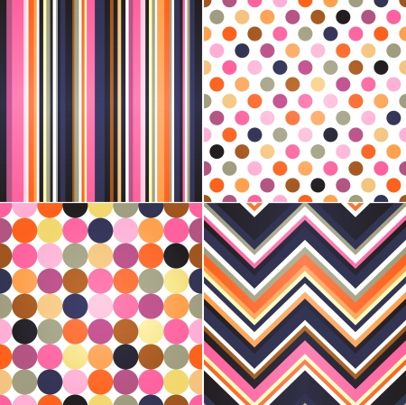 seamless retro stripes, zig zag and polka dots background Vector