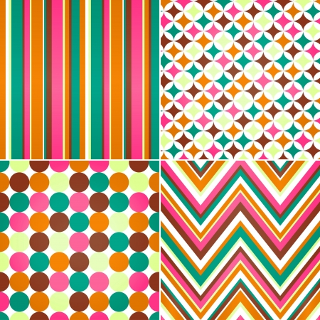 seamless stripes, zig zag and polka dots background  Vector