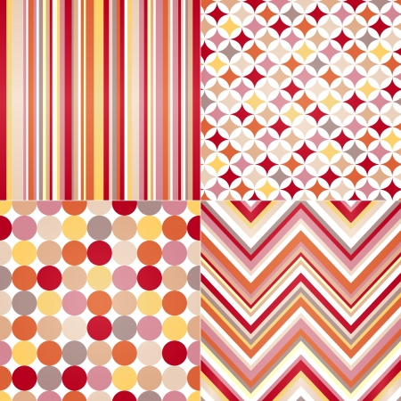peaches: seamless stripes, zig zag and polka dots background