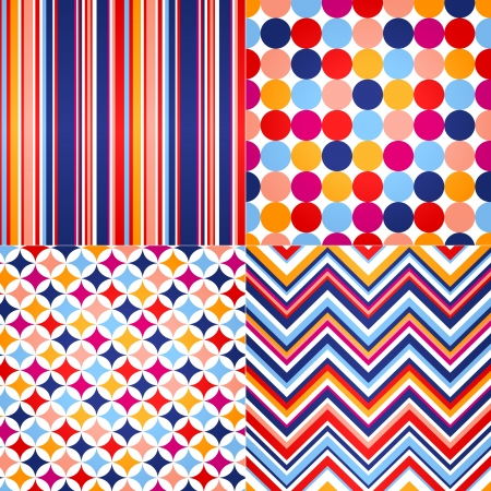 seamless stripes, zig zag and polka dots background  Stock Vector - 20778714