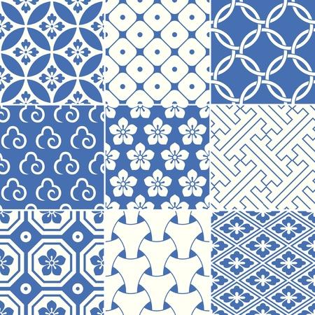 빈티지 일본 전통 패턴 일러스트