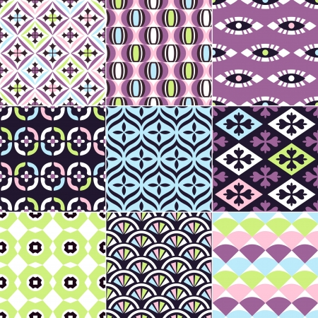 retro design: seamless abstract geometric and floral pattern