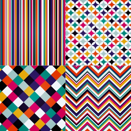 rhombus, stripes, and zig zag seamless pattern Vector
