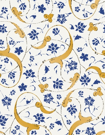 eastern religion: seamless islamic scroll floral leaf pattern Illustration