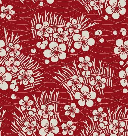 シームレスな日本の花のパターン
