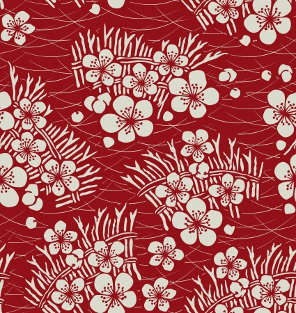 japanese flower: seamless japanese floral pattern Illustration