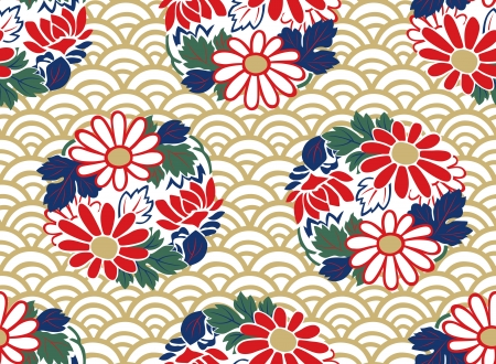 seamless japanese floral pattern Illustration