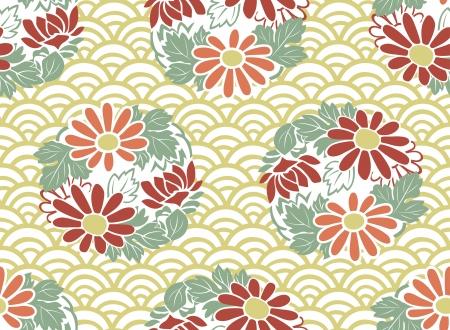 patrón floral japonés transparente