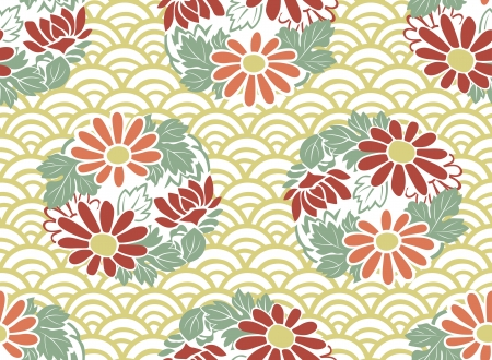 seamless japanese floral pattern Stock Vector - 23118992