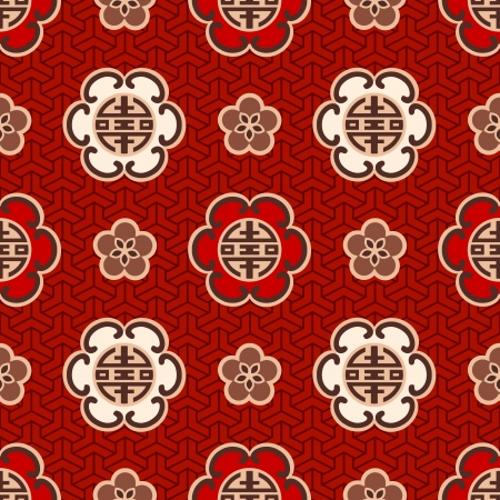 seamless chinese  shou  character traditional pattern  Vector