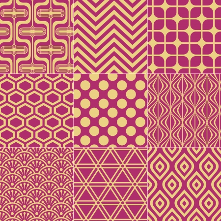 seamless fuchsia gold pattern Vector