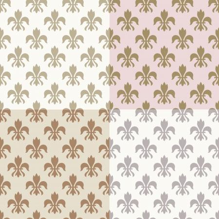 seamless gold fleur de lys pattern  Illustration