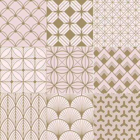 dekorativa mönster: sömlös guld och rosa geometriskt mönster