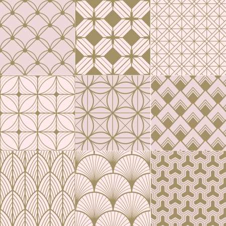 seamless gold and pink geometric pattern Vector