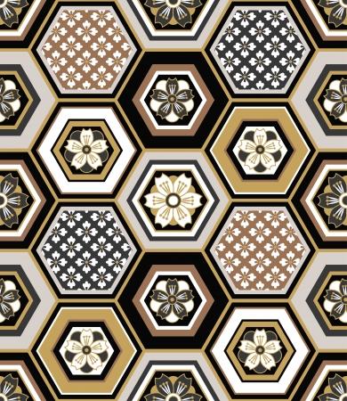 seamless geometric: Modello giapponese senza saldatura ad incastro Vettoriali