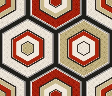 seamless japanese hexagon crest pattern  Illustration