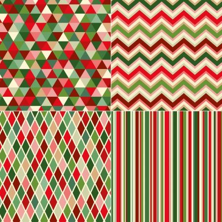 pattern: naadloze kerstmis kleuren geometrisch patroon Stock Illustratie