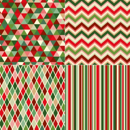 seamless christmas colors geometric pattern  Ilustrace