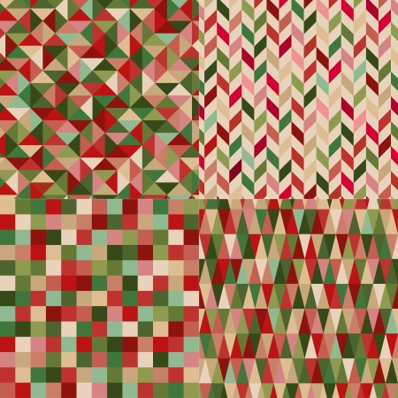 pop art herringbone pattern: seamless christmas colors geometric pattern  Illustration