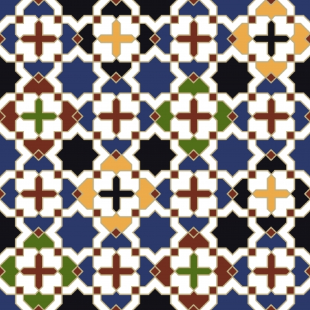 arabic motif: seamless moroccan islamic tile pattern  Illustration