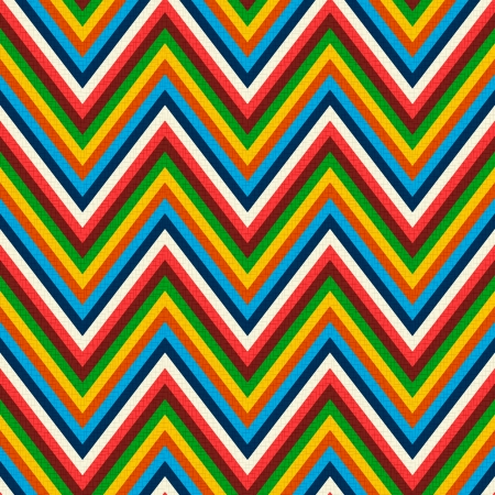 rainbow print: seamless retro zig zag pattern  Illustration