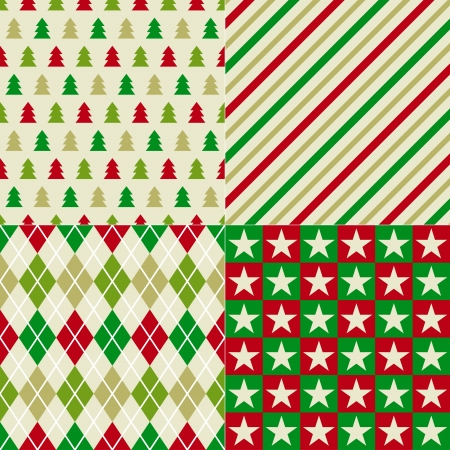 seamless retro Christmas patterns  Vector