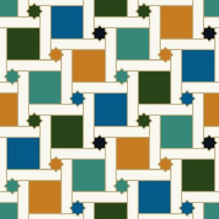 seamless geometric islamic squared and stars pattern Vector