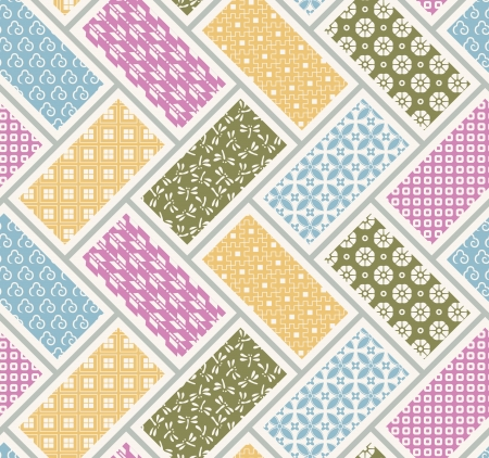 quilted fabric: seamless japanese traditional quilting pattern Illustration