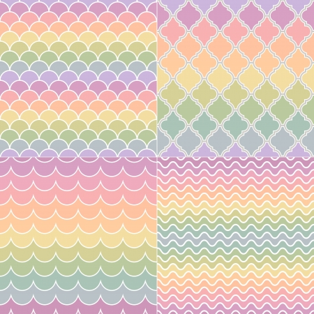 seamless pastel colors wave and geometric pattern Vector