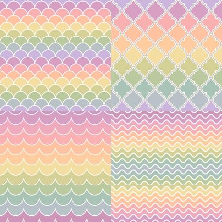 seamless pastel colors wave and geometric pattern Иллюстрация
