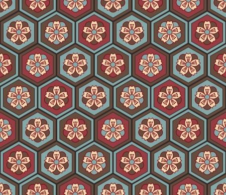 Naadloze Japanse bloemen geometrische patroon Stock Illustratie