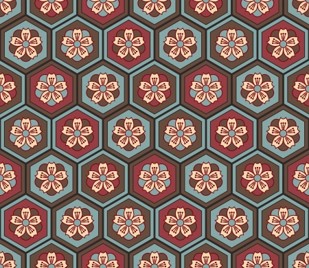 seamless japanese floral geometric pattern