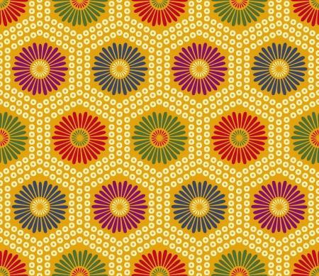 japanese chrysanthemum: seamless japanese floral geometric pattern