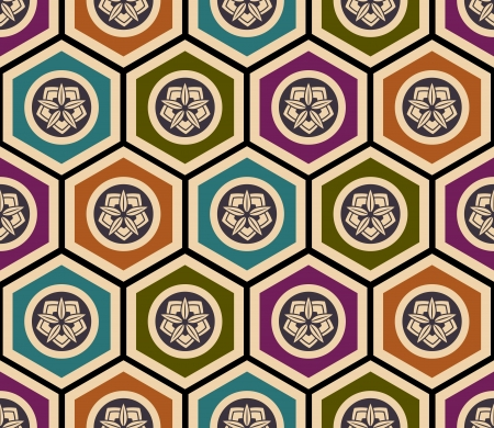seamless japanese floral geometric pattern Vector