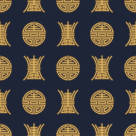 seamless chinese  shou  character fabric background pattern 向量圖像