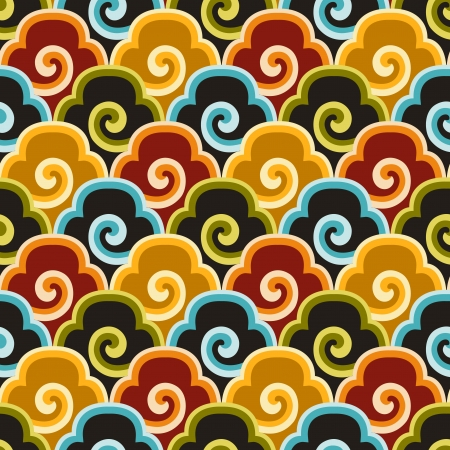 seamless chinese fabric background pattern Çizim