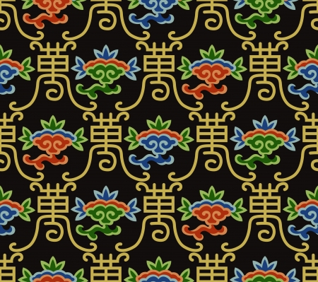 repeated: seamless chinese shou  character  longevity  background with auspicious clouds