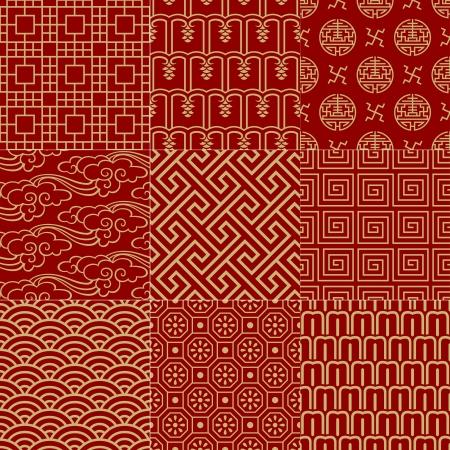 patrón de malla sin costuras tradicionales auspicioso chino Vectores