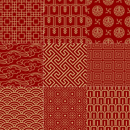 chinese symbol: seamless traditional auspicious chinese mesh pattern  Illustration