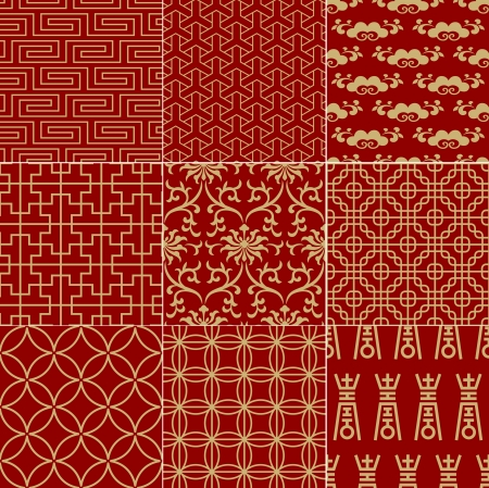 seamless traditional auspicious chinese mesh pattern  Çizim
