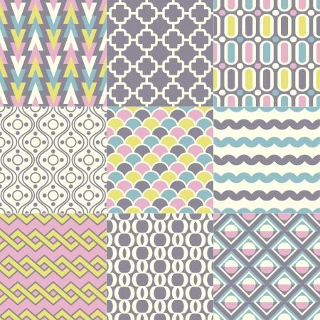 seamless retro geometric wallpaper art  Vector