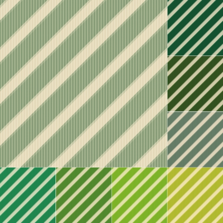 colorful straw: seamless green stripes background set