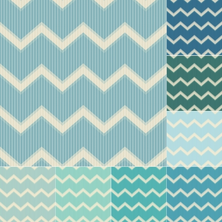 seamless green and blue chevron pattern set Vector