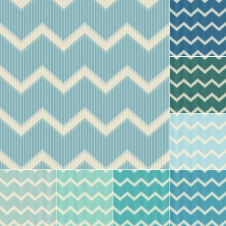 muted: seamless green and blue chevron pattern set Illustration