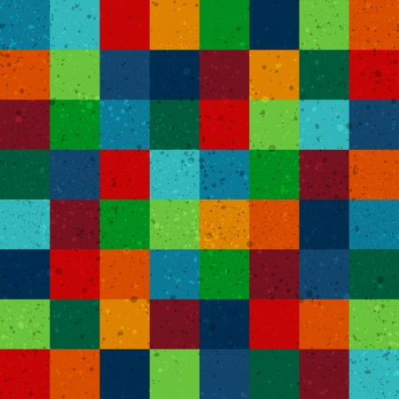 seamless retro squares pattern with dirt effect Vector