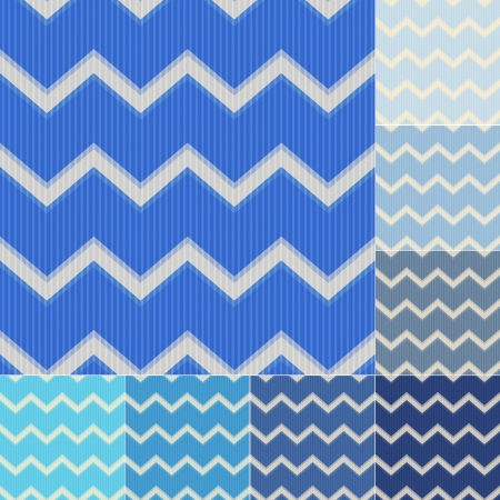 seamless blue colors chevron pattern set Vector