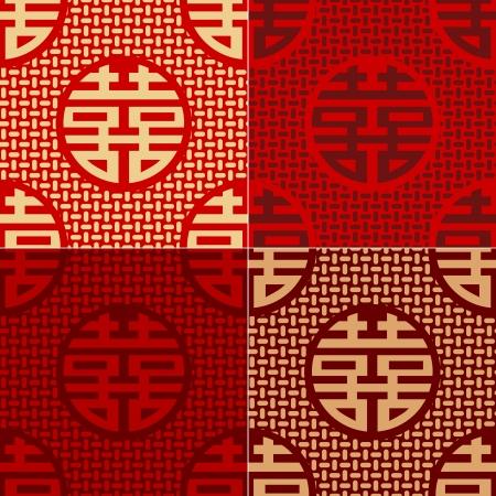 ideograph: seamless chinese character xi - happiness pattern