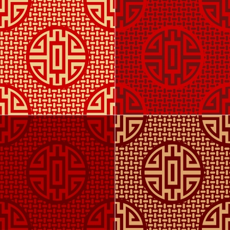 seamless chinese character cai - money, commodities pattern Vector