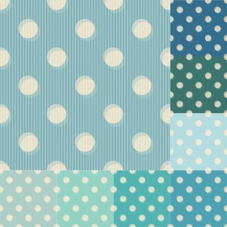 アクアマリン: シームレスなブルーの水玉ストライプ パターン